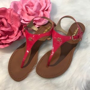 Coach sandals hot pink patent size 9.5